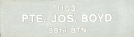 Image of plaque on tree S028 for Joseph Boyd