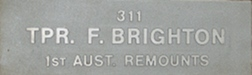 Image of plaque on tree N031 for Fred Brighton