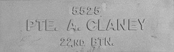 Image of plaque on tree N054 for Alexander Claney