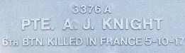 Image of plaque on tree N141 for Alfred Knight (Hallam)