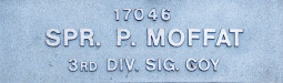 Image of plaque on tree N165 for Percy Moffatt