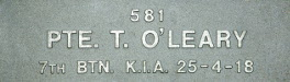 Image of plaque on tree S202 for Thomas O′Leary