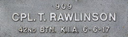 Image of plaque on tree S218 for Thomas Rawlinson