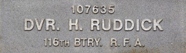 Image of plaque on tree S224 for Harry Ruddick