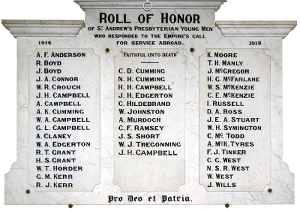 A photograph of the Roll of Honour