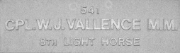 Image of plaque on tree N265 for William Vallence